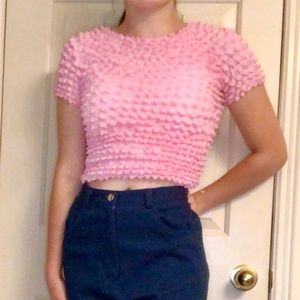 90s 💗 popcorn bubble scrunch crop OS top vintage